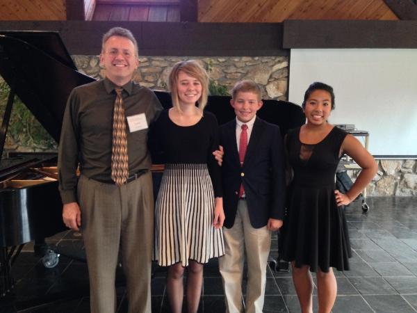 Four students performed at the NC Music Teachers Association Honors Recital in October, 2013 at Mars Hill University. Pictured with Dowell Idol are Claire Gill, Will Phillips, and Chelsea Abad. (Not pictured is Ayomide Ojebuoboh)